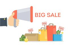 Big sale illustration. Big sale promotion with megaphone, shopping bags and price tags Royalty Free Stock Photography