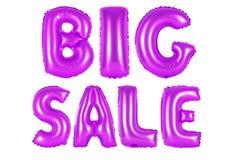 Big sale, purple color. Purple alphabet balloons, big sale, purple number and letter balloon Stock Photo
