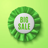 Big sale, realistic green fabric award ribbon Royalty Free Stock Images
