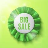 Big sale, realistic green fabric award ribbon Stock Photo