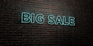 BIG SALE -Realistic Neon Sign on Brick Wall background - 3D rendered royalty free stock image Stock Photography