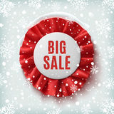 Big sale, realistic red label with ribbons Stock Photos