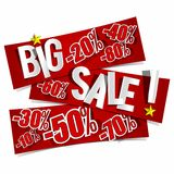 Big Sale On Red Banners Royalty Free Stock Photos
