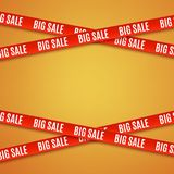 Big sale red banners. Set of warning tapes, ribbons on orange background. Template for brochure, poster or flyer. Vector illustration Stock Image