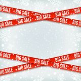 Big sale red banners. Set of warning tapes, ribbons on winter background. Big sale red banners. Set of warning tapes, ribbons on winter background with snow and Royalty Free Stock Photography