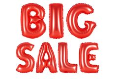 Big sale, red color. Red alphabet balloons, big sale, red number and letter balloon Royalty Free Stock Image