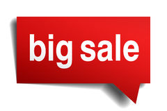 Big sale red 3d realistic paper speech bubble Royalty Free Stock Image
