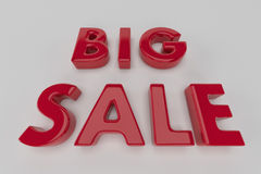 Big sale red 3D text .3D illustration Stock Photography