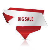 Big sale. Red glossy origami banner VECTOR Royalty Free Stock Images