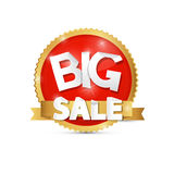 Big Sale, Red, Gold Label, Sticker. Isolated on White Background Stock Photo