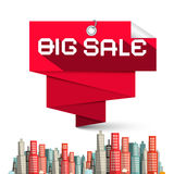 Big Sale Red Label and Skyscrapers Vector Royalty Free Stock Images
