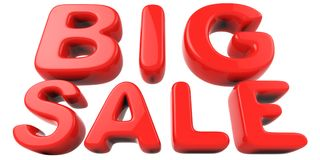 Big sale red letters. On white background. 3D rendering Royalty Free Stock Photography