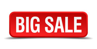 Big sale red three-dimensional button isolated on white background Stock Images