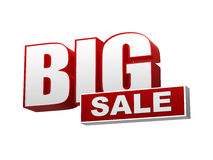 Big sale red white banner - letters and block Royalty Free Stock Images