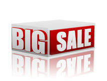 Big sale in red white cube. Big sale - 3d red white box with text, business concept vector illustration