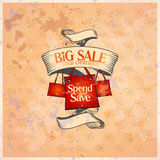 Big sale retro design template. Big sale retro design template with shopping bags. Eps10 Stock Photography