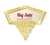 Big sale. Retro light frame. Stock Image
