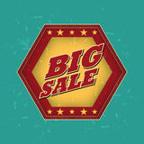 Big sale - retro label. Big sale - retro style blue, ocher, red hexagon label with text and stars, business concept Royalty Free Stock Photos