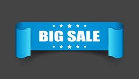 Big sale ribbon vector icon. Discount sticker label on black background. vector illustration