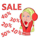 Big sale. seasonal discounts. Girl in red gloves and headphones from surprise opened his mouth and grabbed his face. vector Royalty Free Stock Photography
