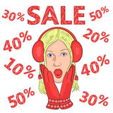 Big sale. seasonal discounts.2. Big sale. seasonal discounts. girl in red gloves and headphones from surprise opened his mouth and grabbed his face. vector Royalty Free Stock Image