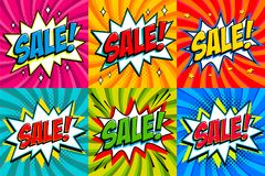 Big sale set. Comic style template banners. 4 Sale inscriptions on color twisted backgrounds. Pop-art comics style web. Banners, flash animation. Vector Royalty Free Stock Image