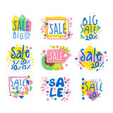 Big sale set for label design. Sale shopping, exclusive special offers badges. Colorful vector Illustrations Royalty Free Stock Photography