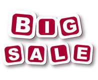 Big sale with shadow. 3d red cubes with white letters with text big sale with shadow Stock Images
