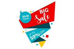 Big sale and shop now. special offer up to 50 percent off with ribbon shape. banner. Vector illustration with blue and yellow color. for promotion royalty free illustration