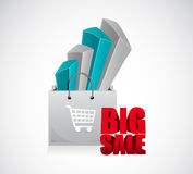 Big sale shopping bag and cart graph business sign Royalty Free Stock Photos