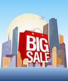 Big sale shopping bag in city. Big sale shopping bag in city, vector poster Stock Images