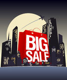 Big sale shopping bag in night city. Stock Photos