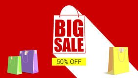 Big sale shopping bag silhouette with long shadow. Selling banner,. Big sale shopping bag silhouette with long shadow. Selling banner, discount fifty percent Royalty Free Stock Image