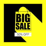 Big sale shopping bag silhouette with long shadow. Selling banner, discount fifty percent on a yellow button backdrop. Simple and clear advertising banner Royalty Free Stock Image