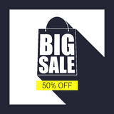 Big sale shopping bag silhouette with long shadow. Selling banner, discount fifty percent on a yellow button backdrop. Simple and clear advertising banner Royalty Free Stock Photos