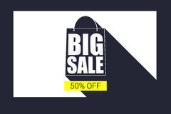 Big sale shopping bag silhouette with long shadow. Selling banner, discount fifty percent on a yellow button backdrop. Simple and clear advertising banner Stock Images