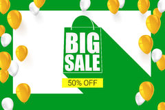 Big sale shopping bag silhouette with long shadow. Selling banner, discount fifty percent on a yellow button backdrop. With white and yellow flying inflatable Stock Photos