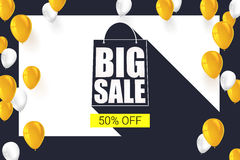 Big sale shopping bag silhouette with long shadow. Selling banner, discount fifty percent on a yellow button backdrop. With white and yellow flying inflatable Stock Photography