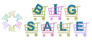 Big Sale Shopping Baskets Royalty Free Stock Photo