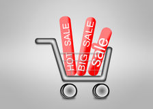 Big sale in shopping cart. Royalty Free Stock Image