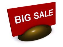 Big sale sign. Three dimensional illustration of red big sale sign or notice; white studio background Royalty Free Stock Photography