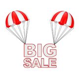 Big Sale Sign Flying on Parachute. 3d Rendering. Big Sale Sign Flying on Parachute on a white background. 3d Rendering Stock Photo