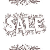 Big sale sketch. Hand drawn vector illustration with twigs, pine Stock Photos