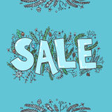 Big sale sketch. Hand drawn vector illustration with twigs, pine Royalty Free Stock Image