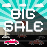 Big Sale Slogan on City with Road and Cars. Background Royalty Free Stock Photography