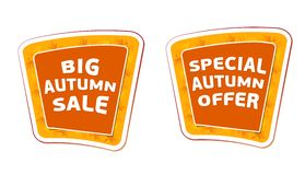 Big sale and special offer autumn banners Stock Photography