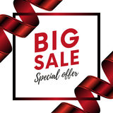 Big sale special offer banner with red gradient color ribbon on white background  with your text. Vector illustration Stock Photos