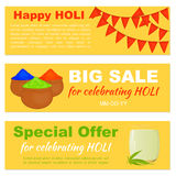 Big Sale and special offer banners with flags. Colorful gulal and bhang lassi for website header or banner set for celebrate Holi in simple cartoon style Stock Images