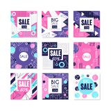 Big sale, special offer banners set, bright discount and promotion labels, advertising elements vector Illustrations on. Big sale, special offer banners set Stock Photos