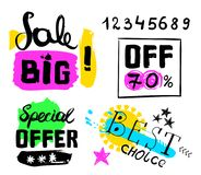 Big sale, special offer, best choice, numbers crazy doodles. Hand drawing multicolored different shapes. Doodle style brushes. Set Royalty Free Stock Photo